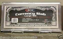 5 Bcw Large Deluxe Currency Holder Slab Free Crystal Clear Bill Banknote Case