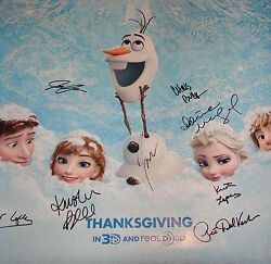 Disney Frozen Cast SIGNED 27x41 DS Movie Poster Idina Menzel Bell Gad Lopez COA