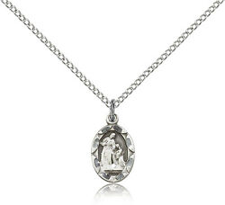 Small St Ann Medal Petite Women Girls Sterling Silver Necklace 18 Chain
