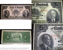 1923 Bank Of Montreal 5 Large Canadian Chartered Banknote