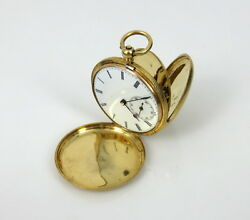 1800andrsquos A. Perrenoud Swiss 18k Yellow Gold Hunting Case Key Wind Pocket Watch