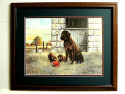 Chocolate Lab Dog Pictur Puppies Ruane Manning Matted Framed 16x20
