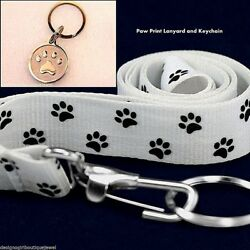 Paw Print Keychain & Lanyard ID Badge Stainless Steel Silver Gift Set Dog Cat  $18.99