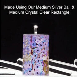 50 Qty - Medium Rectangle Crystal Clear Glass Photo Pendant Magnet Jewelry Tiles