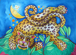 Children's Room Leaping Leopard Painting Original Signed Fine Art Watercolor 30