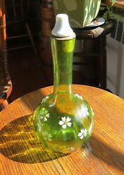 Fine Barber Bottle In Yellow Olive Green With Enamel Flowers - Pontil Hand Blown