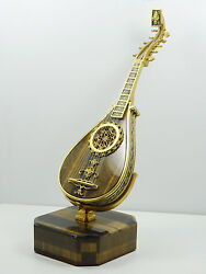 Vintage German 800 Silver Gold Washed Tigers Eye Miniature Mandolin On Stand