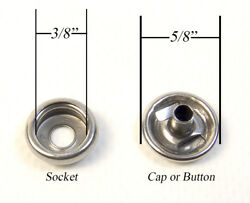 Stainless Steel Snap Fasteners Cap And Socket Only 100 Piece Marine Grade