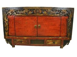 A Chinese Antique Mongolian Cabinet Tv Table Gorgeous Flower And Dragon Carving