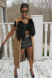 Designer Full length Sable brown Mink fur + fox tails Vest coat jacket S-M 0-10