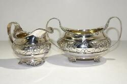 George Iii Sterling Gilt Silver Repousse Creamer And Sugar Bowl London Circa 1821