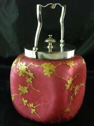 Webbs Cased Satin Dimpled Glass Biscuit Barrel With Gilding