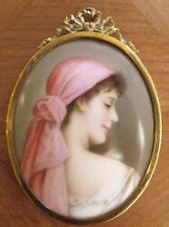 Very Pretty Oval Porcelain Miniature In Metal Bow And Swag Top Frame