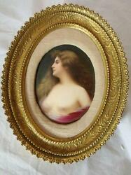 Hand Painted Porcelain Plaque Of Mounted In Oval Gilt Frame Signed Bohm