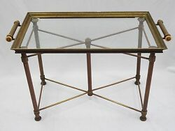 Antique 1930and039s French Art Deco X Base Brass Butler Table And Serving Tray