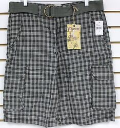 Modern Culture Olive Plaid Cargo Shorts With Belt Brand New