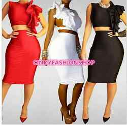 New Summer Sexy Women 2 Pc Set Outfit O-neck Bodycon Bandage Celebrity Dress