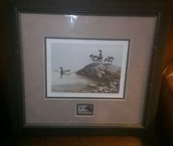 Framed P.leduc Ducks Unlimited Stamp And Print Artist Signed And Numbered