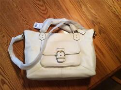 Coach Extra Large White LeatherTote Handle Strap and Cross Body Brass Hardware