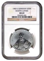Only One Ms-69 German-democratic Republic 20 Mark 1983 Birth Of Martin Luther