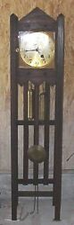 Antique Mission Oak Grandfather Weight Driven Clock With Chime And German Works