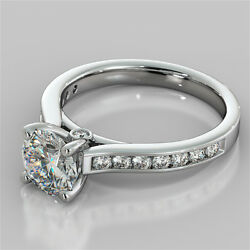 2.45ct Round Cut Engagement Ring With Accents In 14k White Gold