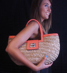 LARGE KATE SPADE FOLLY BEACH BENEDICTA WICKER STRAW BAG LEATHER TOTE TURNLOCK