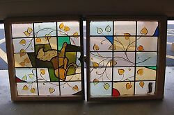 + Antique Stained Glass Window + In Double Hung Frames + Lion + Chalice Co. +