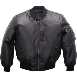 Ma-1 Leather Af Jacket Industries Us Army Pilot Flight Military Bomber Genuine