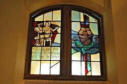 + Double Stained Glass Window In Wood Frames + Fish + 4 + Chalice Co.