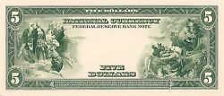 Proof Print By The Bep - Back Of 1915 And 1918 5.00 Federal Reserve Bank Note
