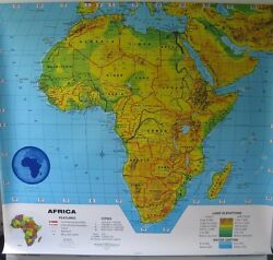 Cram, Two Layer Pull Down School Map, Africa, Australia, And Asia,51 Inches Wide