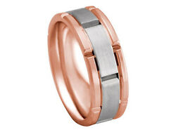 18K Rose Gold Band 2Tone Platinum Watch Style 8mm Comfort Fit Men Women Wedding
