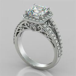 2.19ct Asscher Cut Engagement Ring In 14k White Gold With Optional Matching Band