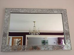 Crackle Mirror Mosaic Beveled Edge Silver Frame Glass 90x60cm Living Lounge Wall