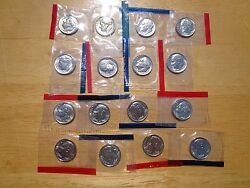 1980 1981 1984-1987 1988 1989 P And D Roosevelt Dime 16 Coin Set Sealed Mint Cello