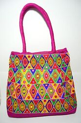 NEW TRADITIONAL KUTCH STYLE MIRROR WORK TOTE HANDBAG PURSE (SHIPPED FROM USA)