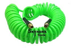 1/4 X 30 Foot Polyurethane Re Coil Air Hose Male Swivel Fittings Green Recoil