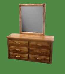 Torched And Finished Log Dresser W/ Mirror - 1539 - Dovetail Drawers