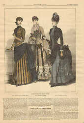 Victorian, Ladies Fashions, Ladies House And Street Dresses, 1884 Antique Print