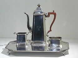 Elizabeth Ii Sterling Silver And Co. 3-piece Coffee Set W/matching Tray