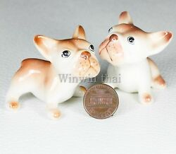 2 BROWN FRENCH BULLDOG Puppy Set Ceramic Pottery Animal Miniature Figurine