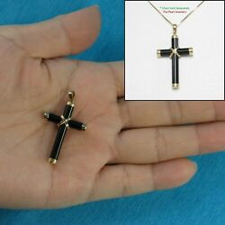 Solid 14k Yellow Gold Black Onyx Religious Cross Pendant Necklace Tpj