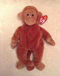 Ty Collection Bongo Beanie Baby Brown Tail 1995 Style Pvc Pellets, No Star Stamp