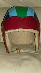 Antique 1940's Very Colorful Football Helmet Old Vintage Leather Fiber Early