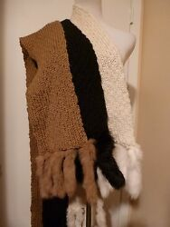 NEW WOOL BLEND with 100% RABBIT TAIL Scarf Wrap OFF WHITE TANCAMEL or BLACK