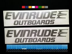 2 Two Evinrude Outboards Boats Marine Hq Decals 12 - Silver Metallic + More