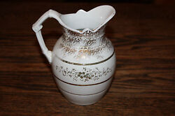 Antique Johnson Bros Brothers Royal Ironstone Gold Pitcher Creamer White Small