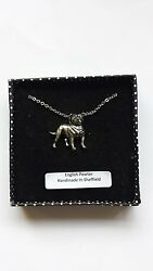 D17 Staff Bull Terrier english pewter 3D Platinum Necklace Handmade 18 INCH