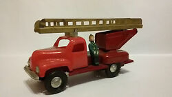 Russian Ussr Friction Tin And Plastic Toy Car Fire Truck Fireman Figure Ladder Zil